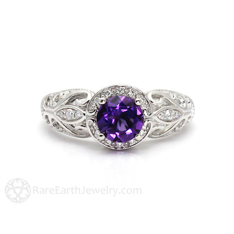 Vintage Amethyst Ring Diamond Halo Art Nouveau February Birthstone