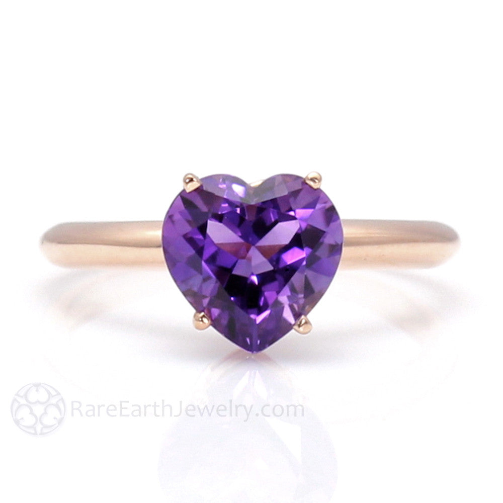 Rare Earth Jewelry Heart Shaped Amethyst Solitaire Ring 14K Gold February Birthstone