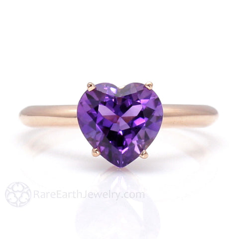 Heart Cut Amethyst Solitaire Ring - February Birthstone