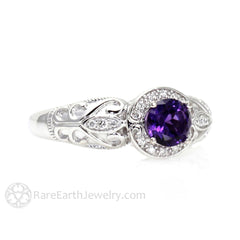 Rare Earth Jewelry Amethyst Ring Diamond Halo Filigree Platinum Setting