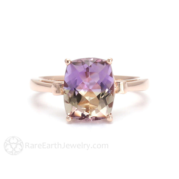 Ametrine Solitaire Ring Rare Earth Jewelry