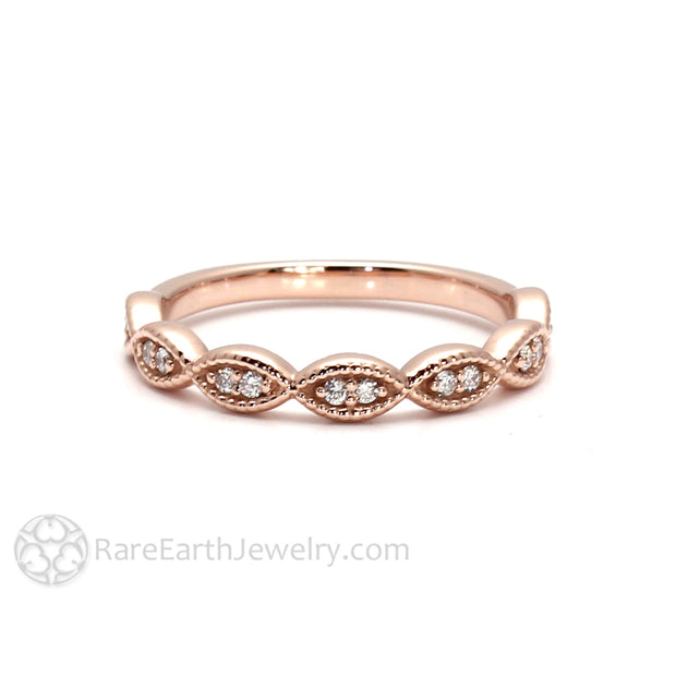 Rare Earth Jewelry Rose Gold Diamond Stacking Ring or Wedding Ring