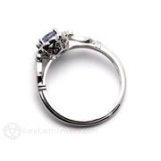 Rare Earth Jewelry Vintage Sapphire Halo Ring Art Deco Design