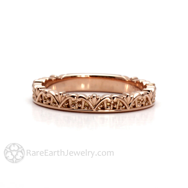 Rare Earth Jewelry Antique Style Filigree Stackable Band 14K or 18K Gold