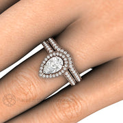 Rare Earth Jewelry Rose Gold Moissanite Bridal Set on Finger 1ct Pear Shaped Forever One with Conflict Free Diamonds