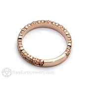 Rare Earth Jewelry Antique Style Stackable Band 14K 18K Solid Gold or Platinum