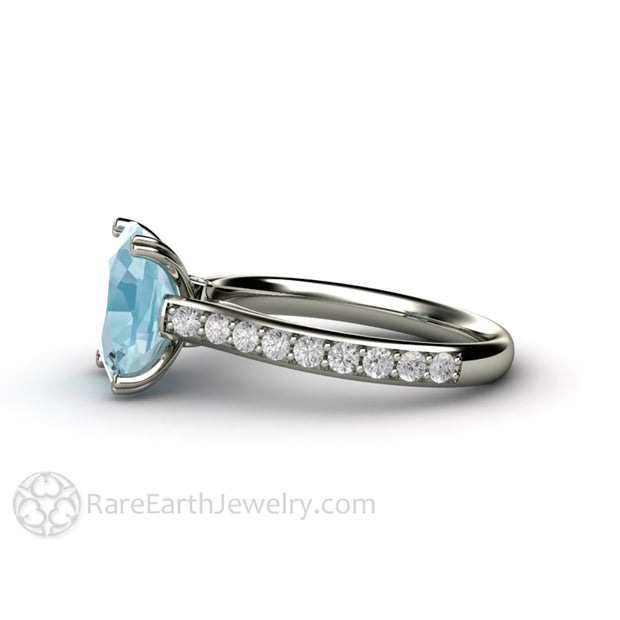 Rare Earth Jewelry Aquamarine Anniversary or March Birthstone Ring Diamond Accented 3 Carat Cushion Solitaire 14K White Gold