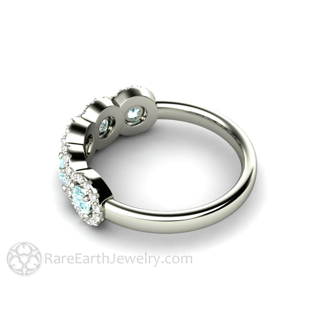 Rare Earth Jewelry Aquamarine Bridal Ring 14K White Gold Halo Setting with Diamond Accent Stones