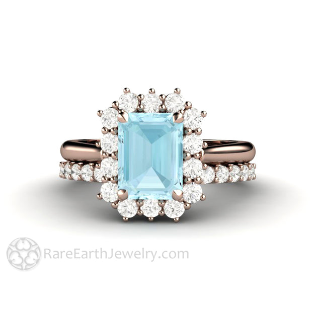 Rare Earth Jewelry Aquamarine Bridal Set Diamond Halo and Wedding Band 14K or 18K Rose Gold