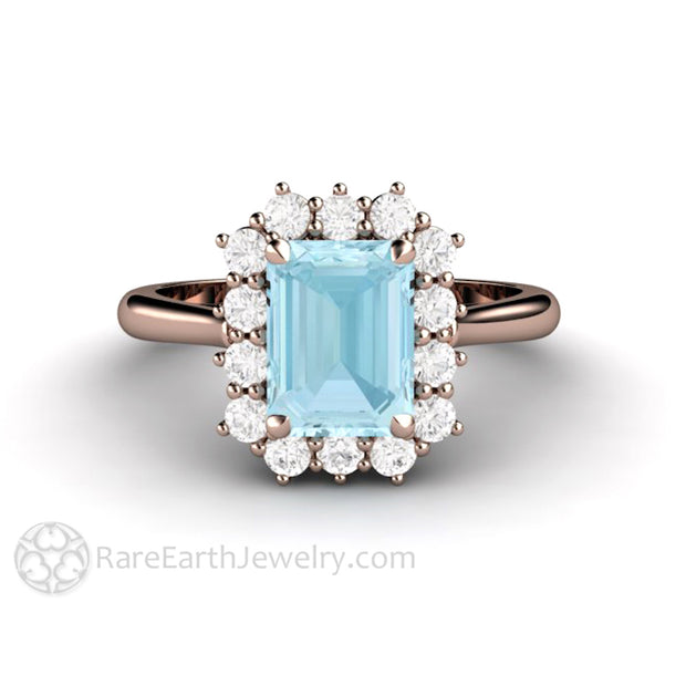 Rare Earth Jewelry Aquamarine Bridal Wedding Ring Accented Diamond Halo Rose Gold Setting