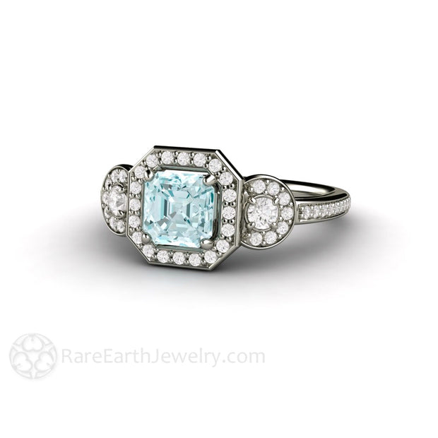 Rare Earth Jewelry Aquamarine Wedding Bridal Ring Diamond Halo 14K