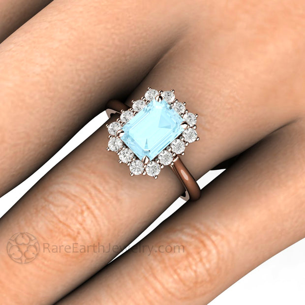 Rare Earth Jewelry Aquamarine Halo Wedding Ring on Finger Natural Emerald Cut Gemstone with Diamonds