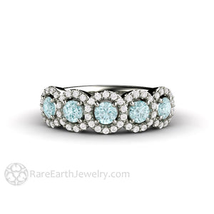 Rare Earth Jewelry Aquamarine March Birthstone Ring or Anniversary Diamond Halo 5 Stone