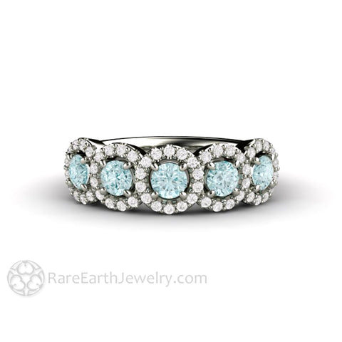 Aquamarine Band with Diamonds Anniversary Band or Wedding Ring