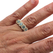 Rare Earth Jewelry Aquamarine Ring 5 Stone Halo Natural Gemstones Conflict Free Diamonds 14K or 18K Gold Setting