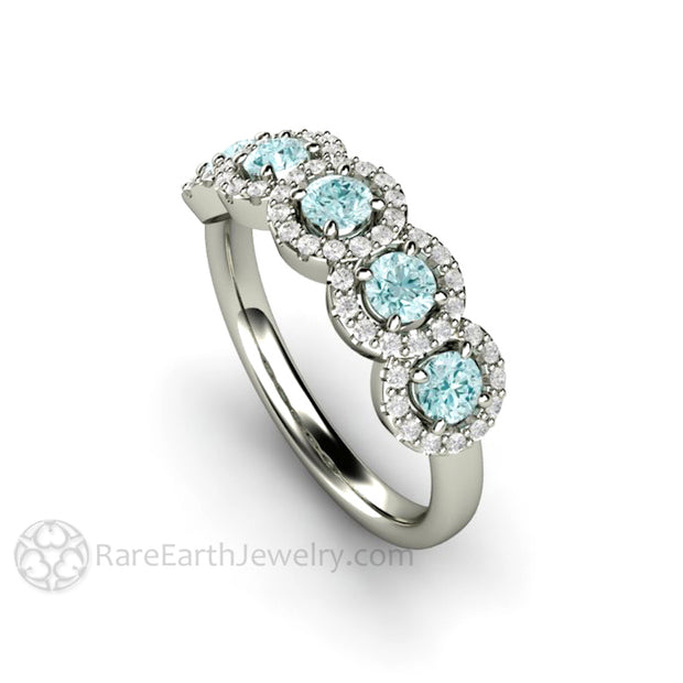 Rare Earth Jewelry Aquamarine Ring Diamond Halo 5 Stone Setting Round Cut Gemstones