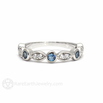 Rare Earth Jewelry Aquamarine Anniversary Band with Diamonds March Birthstone