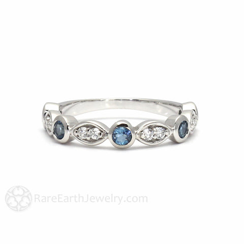 Aquamarine Anniversary Band with Diamonds March Birthstone