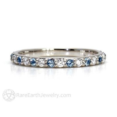 Rare Earth Jewelry Aquamarine Anniversary Band with Diamonds March Birthstone 14K or 18K Gold