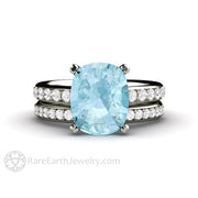 Rare Earth Jewelry Aquamarine Wedding Ring Set Pave Diamond Double Prong Cathedral Setting 3ct Cushion Solitaire