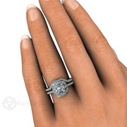 Rare Earth jewelry 1ct Forever One Charles & Colvard Moissanite Wedding Ring Set Platinum or Gold Deco Setting