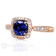 Rare Earth Jewelry Round Cut Blue Sapphire Ring Vintage Antique Design Conflict Free Diamond Halo