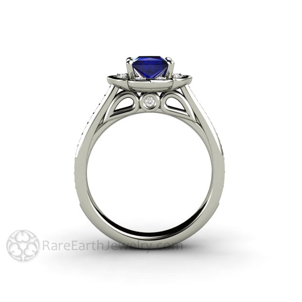 Art Deco Princess Blue Sapphire Halo Ring Wedding Anniversary or Bridal by Rare Earth Jewelry