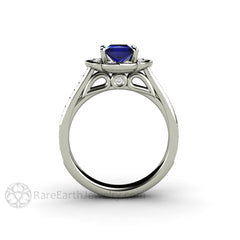 Rare Earth Jewelry Art Deco Princess Blue Sapphire Halo Ring Wedding Anniversary or Bridal