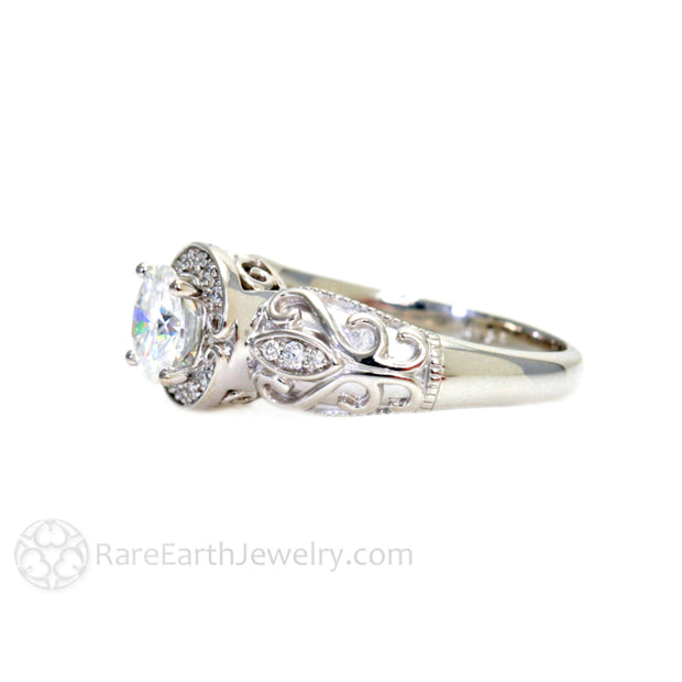 Rare Earth Jewelry Moissanite Engagement Ring Forever One White Gold Vintage Halo Setting