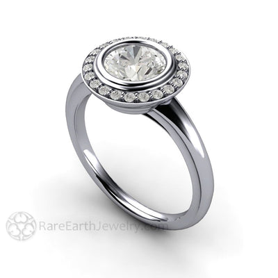 Rare Earth Jewelry 1ct GIA Certified Diamond Halo Ring Platinum Art Deco Style Setting