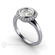 Rare Earth Jewelry Art Deco Moissanite Engagement Ring Round Cut Bezel Halo 14K or 18K Gold