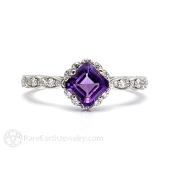 Asscher Cut Amethyst Ring with Diamond Accented Halo and Band Rare Earth Jewelry