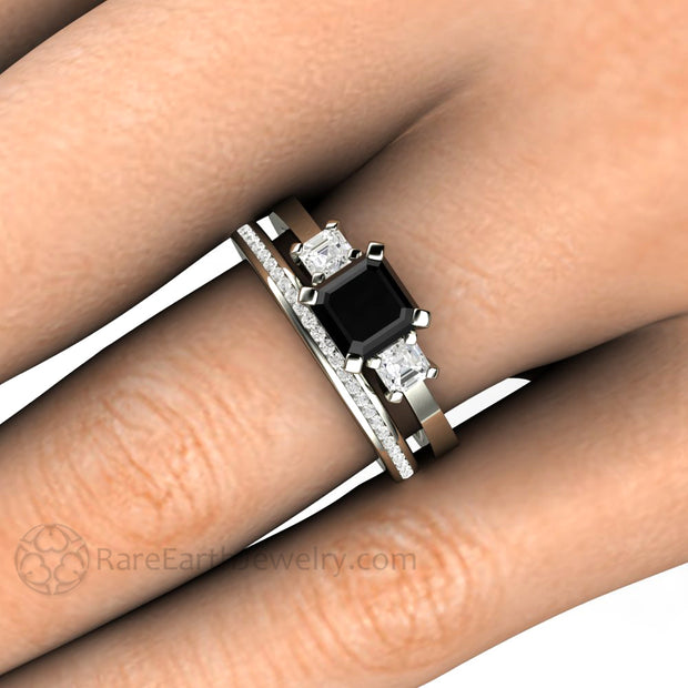 Rare Earth Jewelry Asscher Black Diamond Bridal Set on Finger 1 Carat 14K White Gold 3 Stone Setting