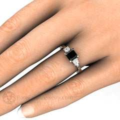 Rare Earth Jewelry Asscher Black Diamond Right Hand Ring on Finger 14K or 18K Gold