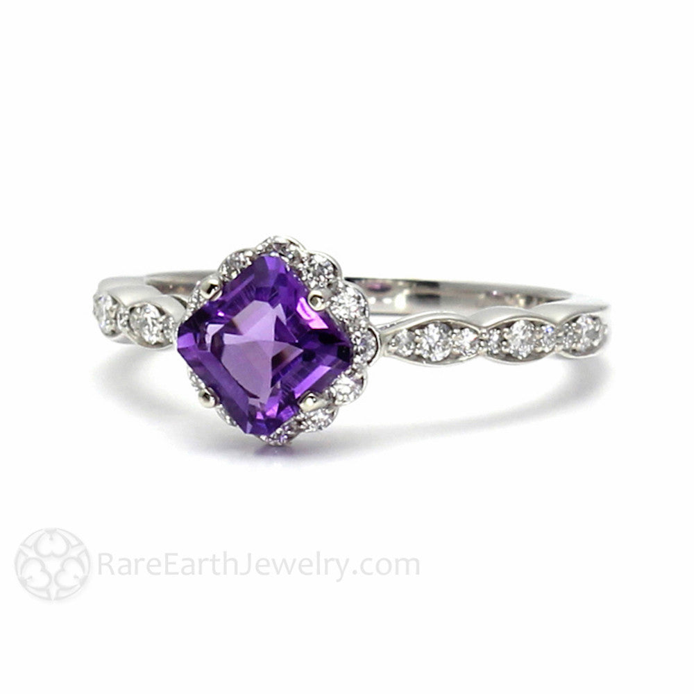 engagement gold ring diamond oval purple wedding rings pave products amethyst shamrock celtic rose