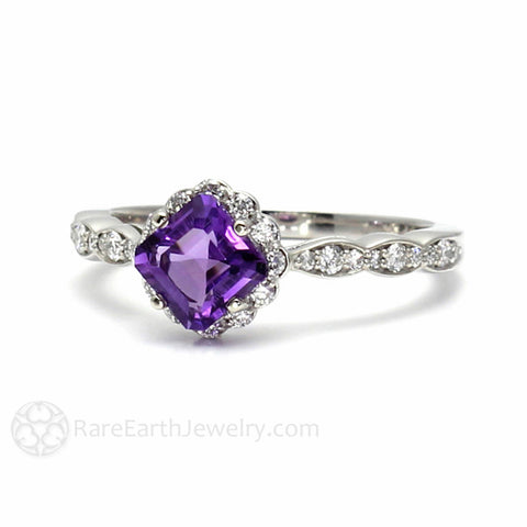 Asscher Amethyst Ring Diamond Halo February Birthstone