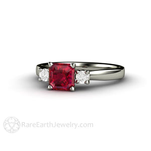Rare Earth Jewelry Asscher Cut Ruby Ring with Diamond Side Stones 14K Gold