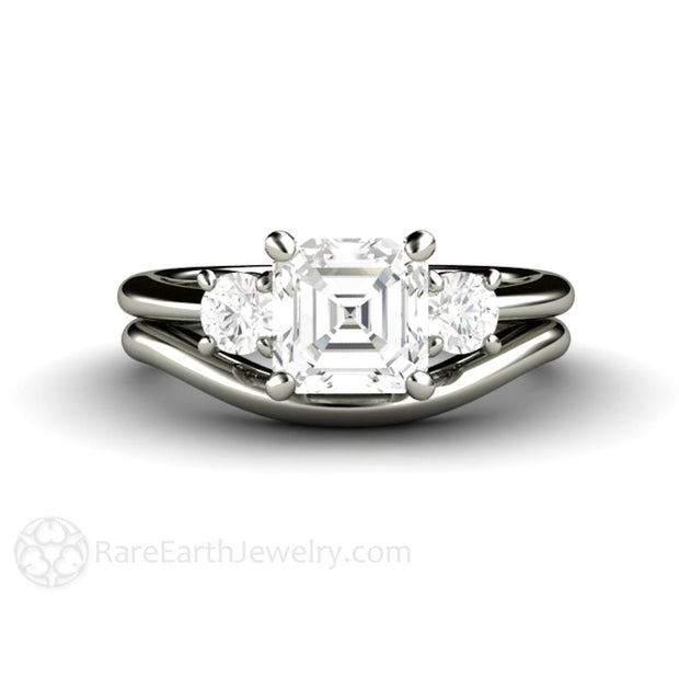 Rare Earth Jewelry Asscher Forever One Moissanite Wedding Ring Bridal Set 14K White Gold