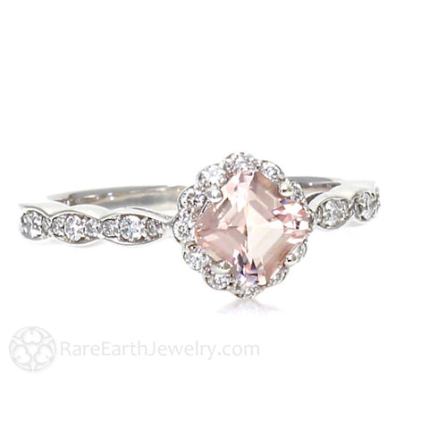 Asscher Morganite Engagement Ring Vintage Style Diamond Halo