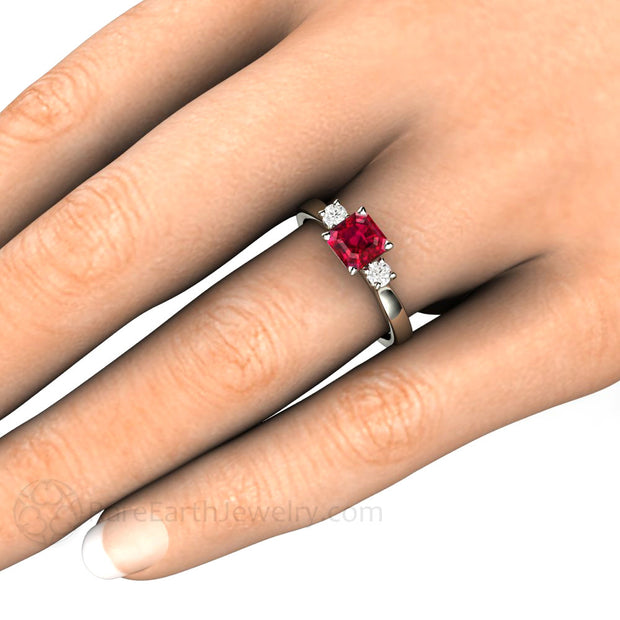 Rare Earth Jewelry Asscher Cut Ruby and Diamond Ring on Finger