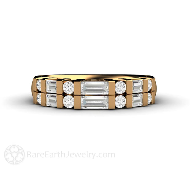 18K Gold Diamond Ring with Baguette Cut and Round Diamonds Rare Earth Jewelry