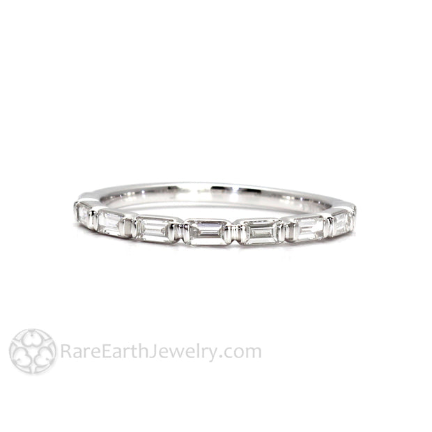Rare Earth Jewelry Baguette Diamond Band Stackable Wedding Ring