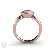 Rare Earth Jewelry Bezel Sapphire Bridal Ring Peachy Pink Champagne Oval Center Stone