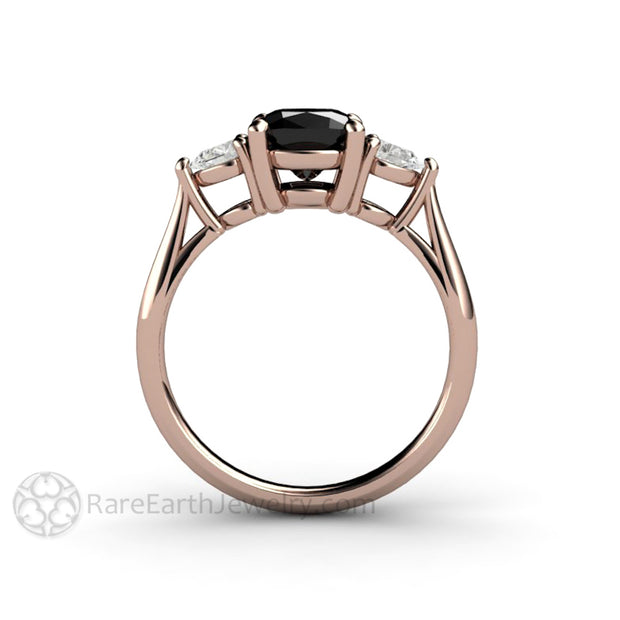 Rare Earth Jewelry Black Diamond 3 Stone Ring Cushion Cut Center with Pear White Sapphire Stones 14K Rose Gold
