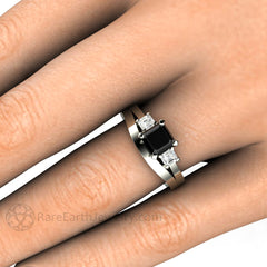 Rare Earth Jewelry Black Diamond Bridal Set on Finger Classic Solid Gold Wedding Band 1 Carat Asscher