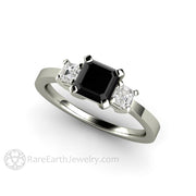 Rare Earth Jewelry Black Diamond Engagement Ring 1ct Asscher Cut with White Side Stones