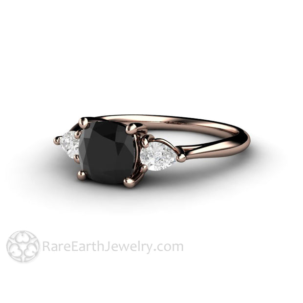 Rare Earth Jewelry Black Diamond Engagement Ring 3 Stone 14K Rose Gold Setting Sapphire Accented Side Stones