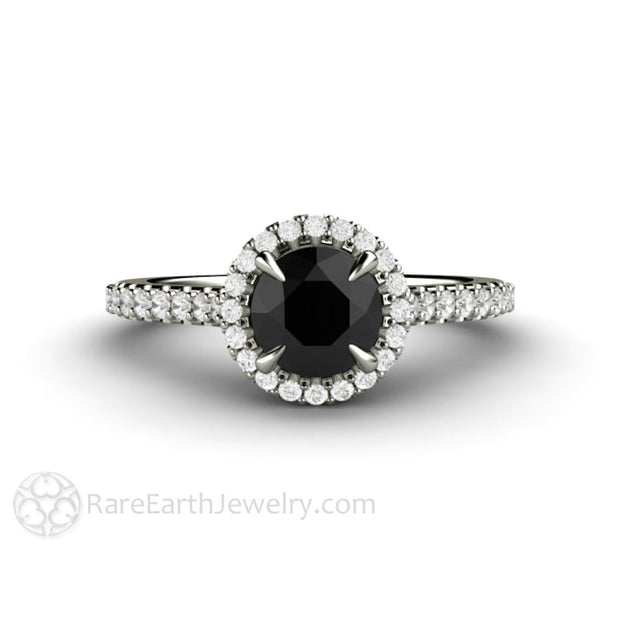 Black Diamond Engagement Ring Round Cut 6mm Halo Rare Earth Jewelry