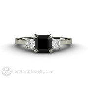 Rare Earth Jewelry Black Diamond Engagement Ring Three Stone Asscher Cut 14K White Gold Setting