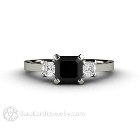 Asscher Cut Black Diamond Engagement Ring Three Stone
